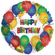Happy Birthday Pattern Mylar Balloons ( of 10)