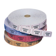 Single Roll Tickets, Admit One - Assorted Colors  (roll of 2000)