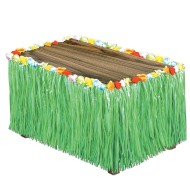 Flowered Raffia Table Skirt