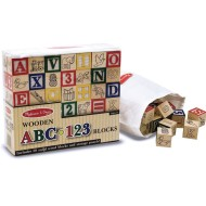 Melissa & Doug® Wooden ABC/123 Blocks  (set of 50)