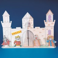 Building Facade Play Set, 3 Castles, 12 Characters (set of 3)