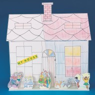 Building Facade Play Set, 3 Houses, 15 Characters (pack of 3)