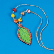 Wood Leaf Necklace Craft Kit (makes 12)