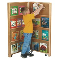 2-Section Mobile Library Bookcase