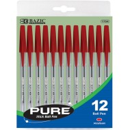 Red Ballpoint Stick Pen (pack of 12)