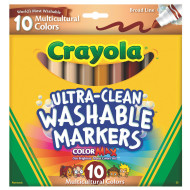 Crayola® Ultra-Clean™ Washable Markers, Multicultural (set of 10)