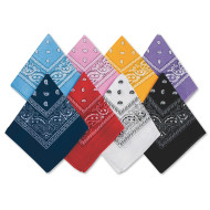 Bandanas - Black/White Western  (pack of 12)