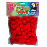 "Pom Poms Red 1/2"" (pack of 100)"