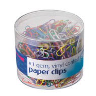 Colored Vinyl Coated Paper Clips (tub of 500)