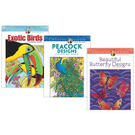 Creative Haven® Coloring Books: Butterflies, Birds, Peacocks, Set of 3 (set of 3)