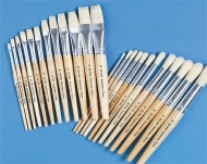 White Bristle School Brushes  (set of 24)