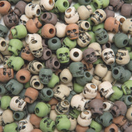 CAMOUFLAGE COLOR SKULL BEADS 1/4 LB BAG