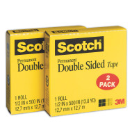 "Scotch® Double-Sided Tape, 1/2"" x 500"" (pack of 2)"