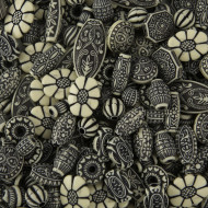 Old World Bead Mix - Black and Ivory (bag of 450)