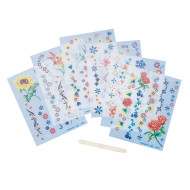 Flower Rub-on Decor  (pack of 12)