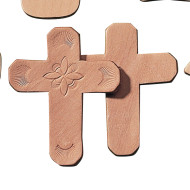 "Leather Shape 4"" - Cross  (pack of 25)"