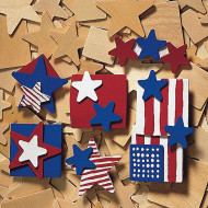 Patriotic Wood Pins Craft Kit (makes 48)