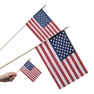 "12"" Cotton US Flags  (pack of 12)"