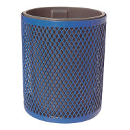 Blue Trash Receptacle with Lid and Liner