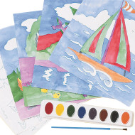 Watercolor Paint-By-Numbers Craft Kit (makes 36)