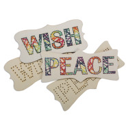 Wood Stitching Plaques: Wish & Peace (pack of 24)