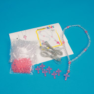 Rosary Beads Craft Kit, Crystal and Rose (makes 6)