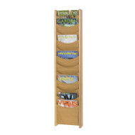 12-Pocket Wood Magazine Rack
