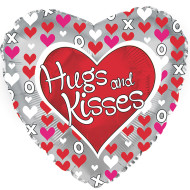 "17"" Hugs And Kisses Mylar Balloon (pack of 10)"