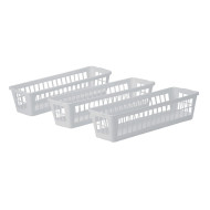 Slim Plastic Storage Basket Tray (pack of 3)
