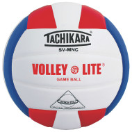 Tachikara® SV-5W Leather Volleyball, Scarlet/White/Royal