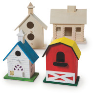 Unfinished D-I-Y Wood Birdhouses Craft Kit (set of 4)
