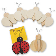 Unfinished Wood Ladybug Clips (pack of 6)