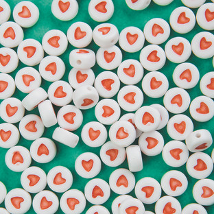 Plastic Heart Beads, 6mm