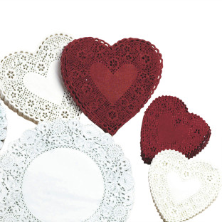 Heart-Shaped Paper Lace Doilies, 6