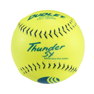 THUNDER 12IN SOFTBALL YELLOW BLUE STITCH