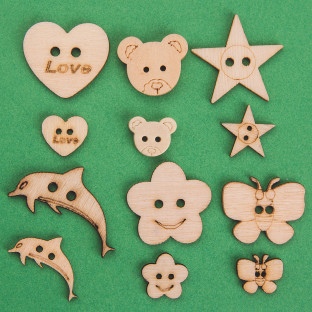 ASSORTED WOODEN CRAFT BUTTONS PK/360