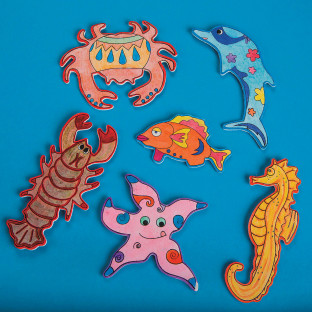 Wood Sealife Magnets Craft Kit