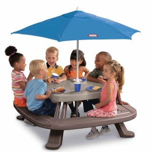 Buy little tikes fold n store picnic table with umbrella - Children s picnic table with umbrella ...