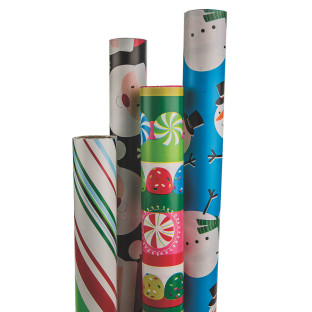 BEST VALUE 4 ROLL CHRISTMAS ASSORTED WRAP