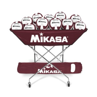 Mikasa® Hammock-Style Volleyball Ball Cart, Maroon