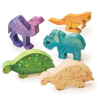 Unfinished Wooden Animal Puzzle - Safari Animals, Unassembled