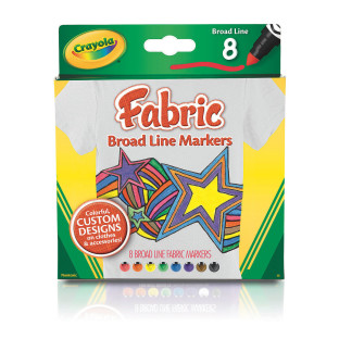 CRAYOLA BROAD LINE FABRIC MARKERS PK8
