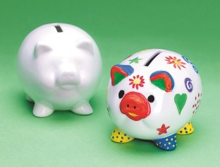 COLOR ME CERAMIC PIGGY BANK PK12