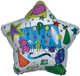 MYLAR 21IN BDAY STAR W/HATS PK10
