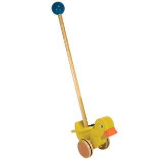 WOODEN TOY FLAPPING DUCK PUSH TOY