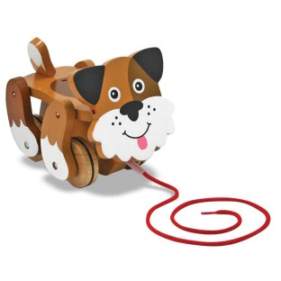 WOODEN TOY DOG PULL TOY