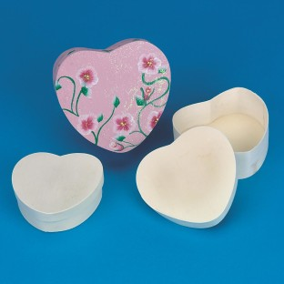 HEART BOXES SET/3 CHIPWOOD