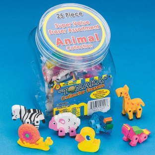ANIMAL ERASERS SET OF 25