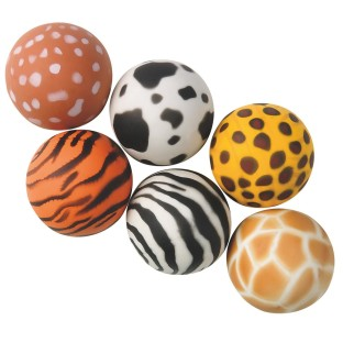 ANIMAL PRINT HI BOUNCE BALLS PK12