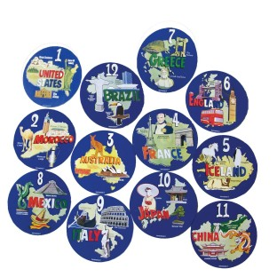 AROUND THE WORLD SPOT MARKER SET OF 12